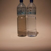 Tamsin Mauder (03/06/2014) - These two bottles show the change in quality of drinking water in a community in Burkina Faso, West Africa before and after WaterAid's work. Almost 1/4 of the country's people have no safe water to drink.